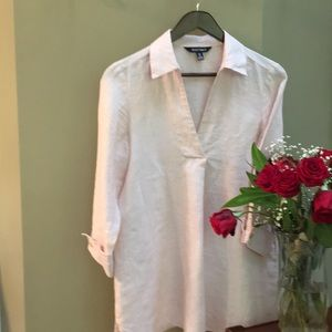 Linen Tunic blouse by Ellen Tracy pink. Size S